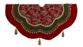 "52"" 52"" Red, Green, and Gold Scalloped Tree Skirt"