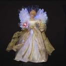 "12"" LED Fiber Optic Ivory and Gold Angel Tree Topper"