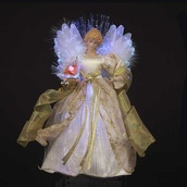"12"" LED Fiber Optic Ivory and Gold Angel Tree Topper"