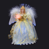 "12"" LED Fiber Optic Gold and Ivory Angel Tree Topper"