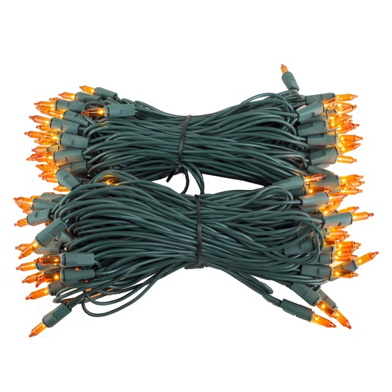 "100 Amber / Orange Lights, 6"" Spacing, Green Wire"