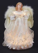 "12"" Ivory Fiber Optic Angel Tree Topper"