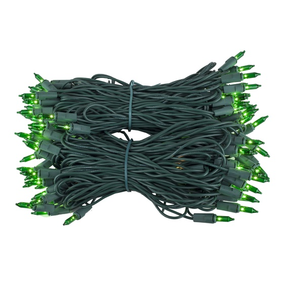 "100 Green Christmas Tree Mini Lights, 6"" Spacing, Green Wire"