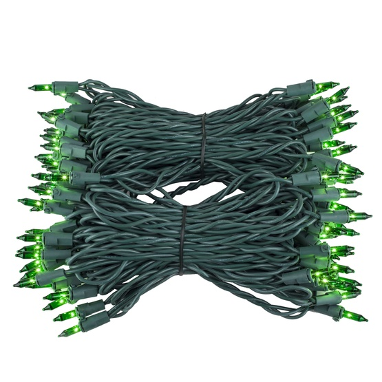 "Commercial 100 Green Christmas Mini Lights, 6"" Spacing, Green Wire"