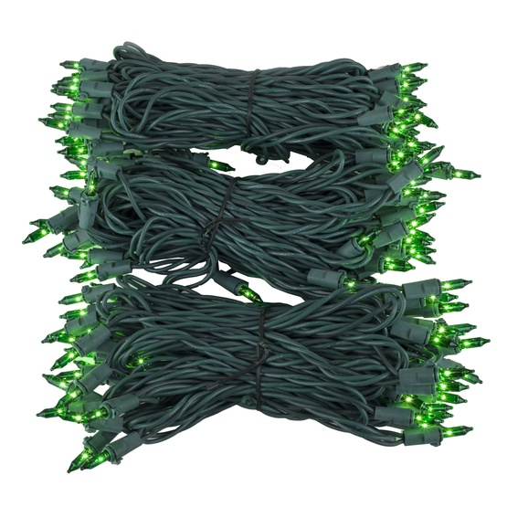 "Commercial 150 Green Christmas Mini Lights, 6"" Spacing, Green Wire"