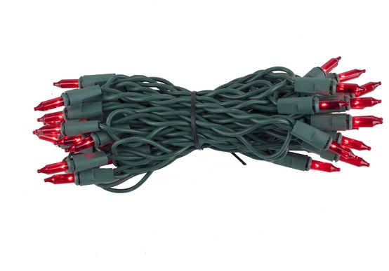 "35 Red Mini Lights, 4"" Spacing, Green Wire"