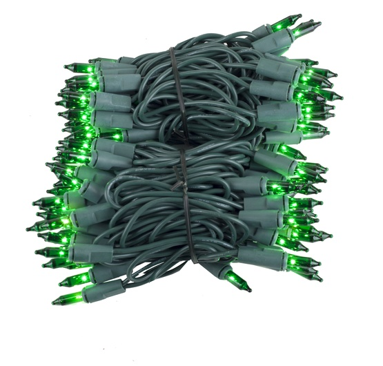 "100 Green Christmas Tree Mini Lights, 2.5"" Spacing, Green Wire"