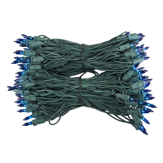 "100 Blue Mini Christmas Lights, 6"" Spacing, Premium, Green Wire"
