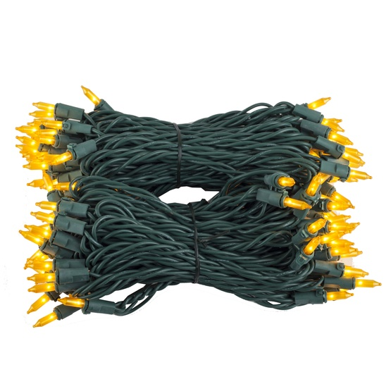 "100 Gold Frost Mini Christmas Lights, 6"" Spacing, Premium, Green Wire"