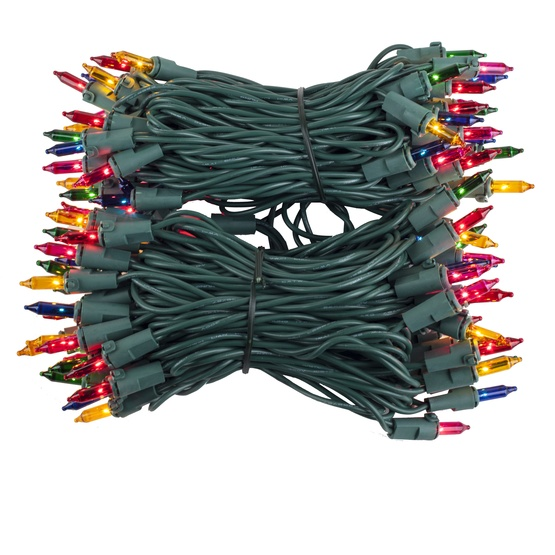 "100 Multi Color Mini Christmas Lights, 4"" Spacing, Premium, Green Wire"