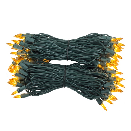 "100 Yellow Mini Christmas Lights, 6"" Spacing, Premium, Green Wire"