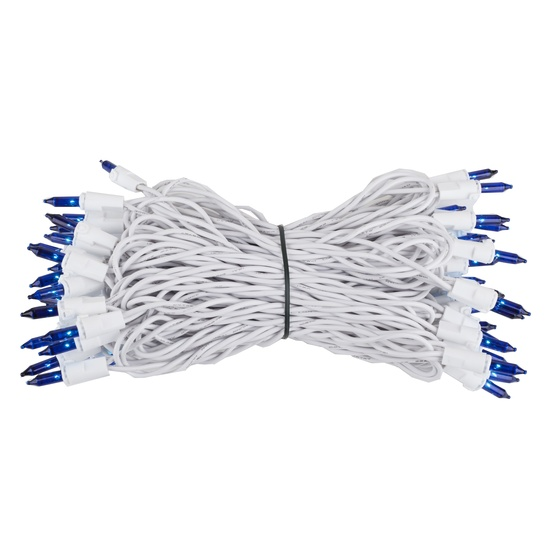 "50 Blue Mini Christmas Lights, 6"" Spacing, Premium, White Wire"