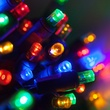 "50 5mm Multi Color LED Christmas Lights, 4"" Spacing"