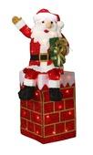 "40"" Lighted Tinsel Santa and Chimney"