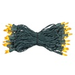 "50 Yellow Mini Christmas Lights, 6"" Spacing, Premium, Green Wire"