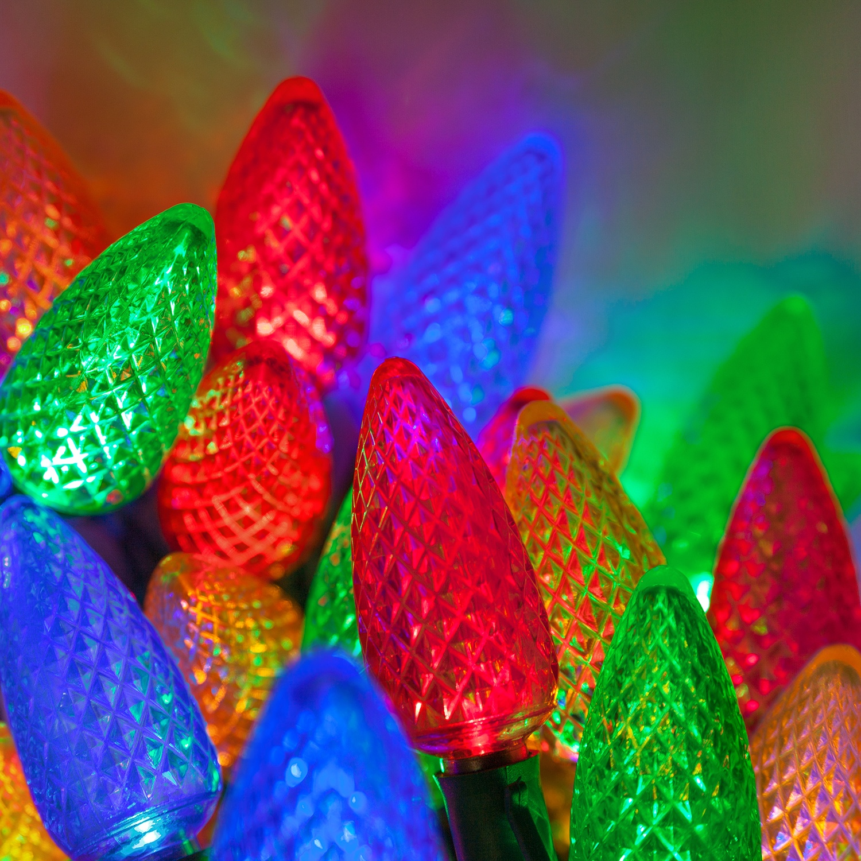 "25 C9 Multi Color LED Christmas Lights, 8"" Spacing"