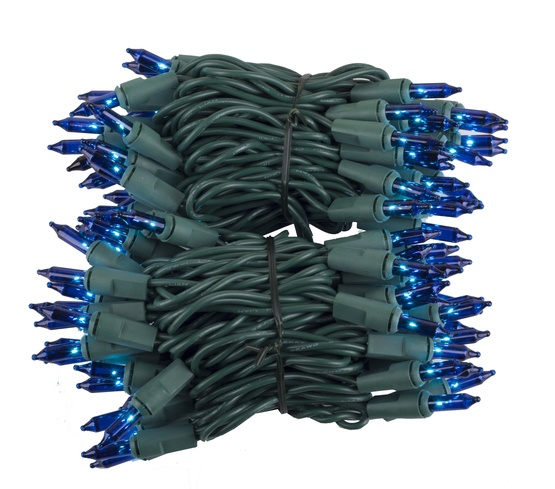 "100 Blue Christmas Tree Mini Lights, 2.5"" Spacing, Green Wire"