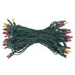 "50 Multi Color Mini Christmas Lights, 8"" Spacing, Premium, Green Wire"