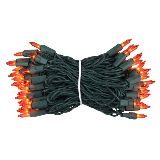 "50 Amber / Orange Lights, 4"" Spacing, Green Wire"