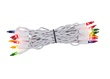 "20 Multi Color Craft Mini Lights, 4"" Spacing, White Wire"