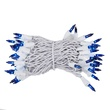 "50 Blue Mini Christmas Lights, 4"" Spacing, Premium, White Wire"
