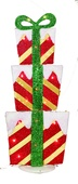 """33"""" Lighted Red Tinsel 2D Stacked Presents"""