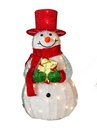 "32"" Lighted Tinsel Snowman with Red Hat"