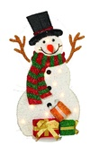 "32"" Tinsel Lighted 2D Snowman with Black Hat"