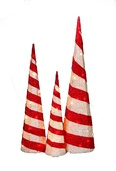 Red and White Tinsel Cone Trees, Set of 3