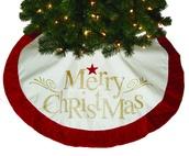 "48"" Ivory ""Merry Christmas"" Tree Skirt"