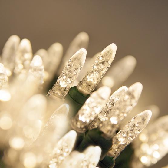 "50 M5 Warm White LED Christmas Lights, 4"" Spacing"
