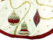 """56"""" Cream velvet tree skirt with ornaments"""