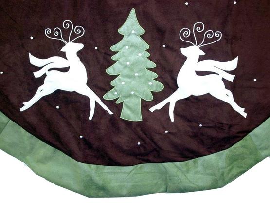 """56"""" Green and Brown Suede Reindeer Tree Skirt"""