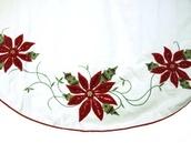 "56"" Cream and Burgundy Christmas Poinsettia Tree Skirt"