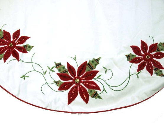"56"" Cream and Burgundy Christmas Poinsettia Tree Skirt"