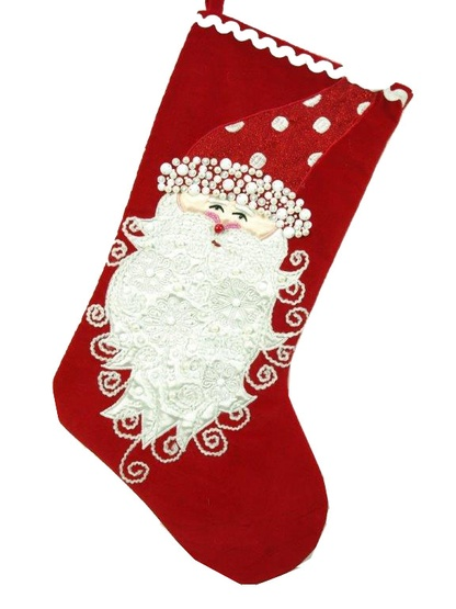 "19"" Red Stocking with Santa"