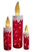 Red Wire Framed Fabric Candles, 3 Piece Set