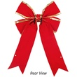 "15"" Red Velvet Bow w/Gold Trim"
