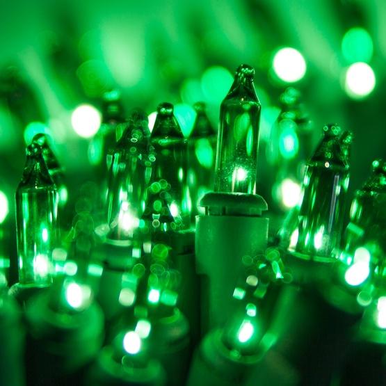 100 Green Christmas Tree Mini Lights 25 Spacing Green Wire aoi90f2S