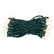 "50 White Frost Mini Christmas Lights, 4"" Spacing, Premium, Green Wire"