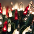 """50 Red, Clear, White Frost Mini Christmas Lights, 6"""" Spacing, Premium, Green Wire"""