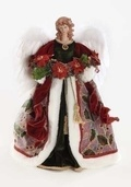 Unlit Angel Tree Topper with Poinsettia Swag