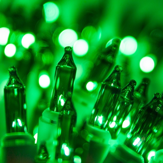 "100 Green Christmas Tree Mini Lights, 2.5"" Spacing, White Wire"