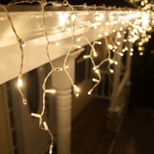 70 5mm Warm White LED Icicle Lights