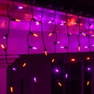 70 M5 Purple, Orange LED Icicle Lights Black Wire