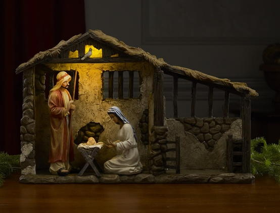 """17"""" High Deluxe Lighted Nativity Stable"""