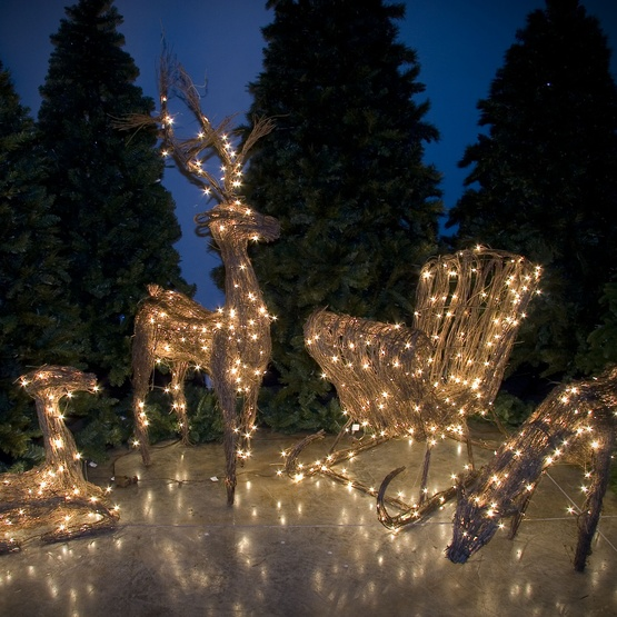 "48"" Standing Grapevine Reindeer, 200 Warm White LED Lights"