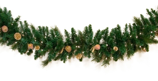 Garland harvest gold deluxe prelit christmas garland clear lights