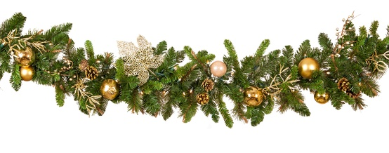 Royal Gold Battery Operated LED Christmas Garland, Warm White Lights