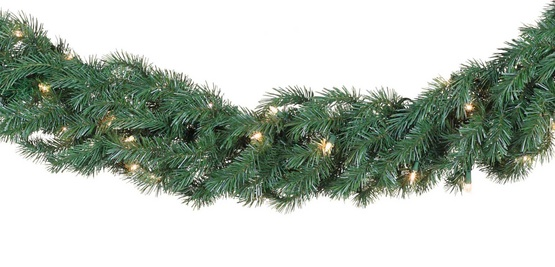 Balsam Fir Prelit LED Christmas Garland, Warm White Lights